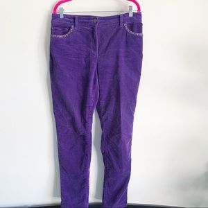 Chico's Purple Velvet Rhinestone Straight Pants 10